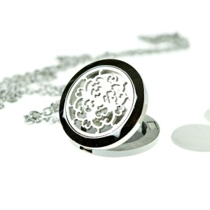 mEssentials Hypoallergenic 316l Surgical Stainless Steel Aromatherapy Essential Oil Flower Diffuser Necklace P