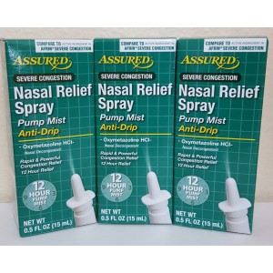 Assured Nasal Relief Spray, Pump Mist, Anti-drip, Severe Congestion, (Oxymetazoline HCI ) 12 Hours, 3 Pack.