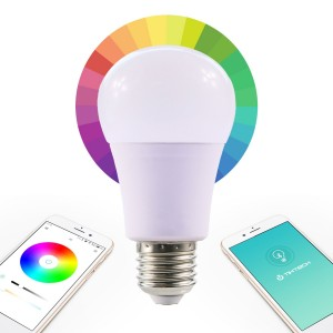 Tikteck BLUETOOTH SMART LED COLOR CHANGING DIMMABLE LIGHT BULB, RGB A19 E26 E27 Apple iphone ipad android