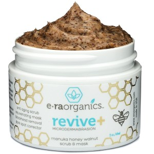 Era Organics Microdermabrasion Face Scrub and Facial Mask in One- Manuka Honey Walnut Natural Face Exfoliator f