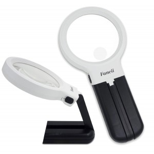 Fancii LED Lighted Hands Free Magnifying Glass with Light Stand - 2X 4X Large Portable Illuminated Magnifier For Reading, Inspection, Soldering, Needlework, Repair, Hobby and Crafts