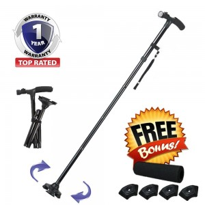 Himal 6 Piece LED Light Walking Stick Sponge Handle, Adjustable Folding Cane with Carrying Case, Black