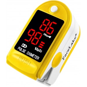 Facelake Fl400 Pulse Oximeter with Neck/wrist Cord, Carrying Case and Batteries-yellow