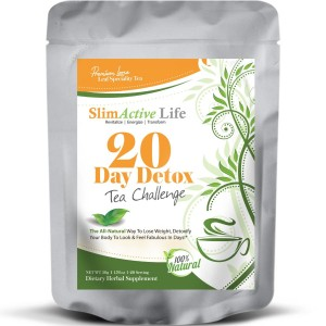 SlimActive Life NEW! Premium Grade  20 Day Detox Green Tea + Pu Erh Tea + Jasmine Flower For Easy Weight Loss Cont