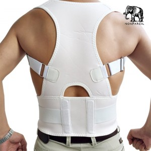 Posture Corrector Back Brace by NONPAREIL – Improve Posture and Relieve Lower Thoracic, Neck and Spine Pain and Pressure - Large (Waist 33-36), White