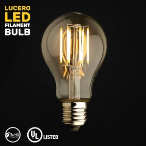 Lucero LED Filament Healthy Edison Light Bulb - Dimmable Warm White 6W - 60W Equivalent UL Listed A19 E26/27 Base 2700K