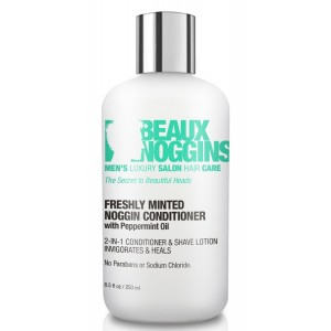 Beaux Noggins Best 2-in-1 CONDITIONER and SHAVE LOTION FOR MEN w/ Peppermint Oil - Heals and Soothes Dry Itchy S