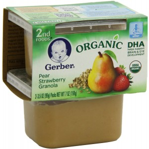 Gerber Organic 2nd Foods, Pear Strawberry Granola, 2 Count, 3.5 Ounce (Pack of 8)