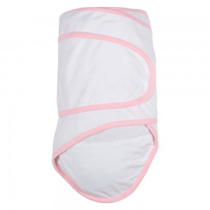 Miracle Blanket Swaddle, White with Pink Trim