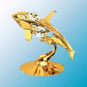 Crystal Delight Mascot 24K Gold Plated Whale Free Standing - Clear - Swarovski Crystal