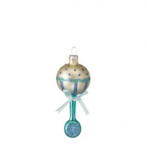 Midwest Glass Baby Blue Rattle Christmas Ornament #287163