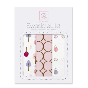 SwaddleDesigns SwaddleLite, Cute and Calm Lite (Set of 3 in Pastel Pink)