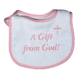 Raindrops A Gift From God Embroidered Bib, Pink