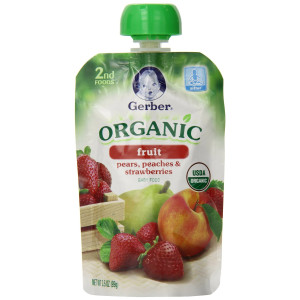 Gerber Organic 2nd Foods Pouches, Pears, Peaches, Strawberries, 3.5 Ounce, 12 count