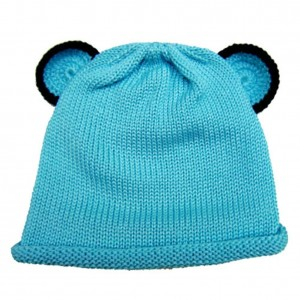 Twinklebelle Cute Baby Beanie Hat 0-6m Soft Luxurious Cotton Knit - Blue Bear Ear Hat