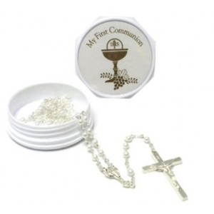"Roman, Inc. 2.25"" My First Communion Keepsake Box with Rosary (White)"