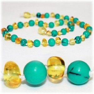 The Art of Cure Certified Baltic Amber Teething Necklace for Baby (Turquoise/Lemon) - Anti-inflammatory ...