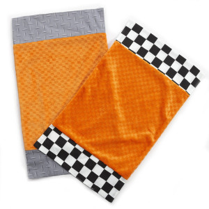One Grace Place Teyo's Tires Burp Cloth, Black, White, Grey, Orange