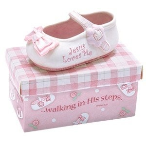 """Kelli's ADORABLE 3.5"""" Ceramic JESUS LOVES ME - BABY Shoe with PINK Box - INFANT Gift with Scripture """"WAL"""