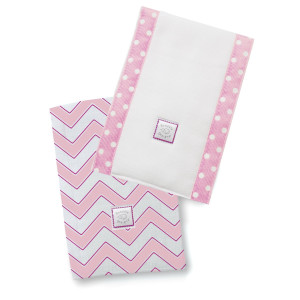 SwaddleDesigns Baby Burpies, Pink Chevron (Set of 2 Burp Cloths)