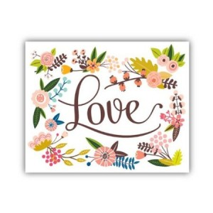 """Lucy Darling Floral Love Print Wall Decor, 8"""" x 10"""""""