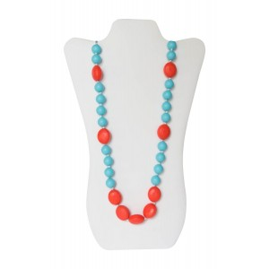 Little Teether Sassy Teething Necklace for Baby Nursing - Stylish Silicone Necklace for Moms, Teether for Babies. Provides Teething Pain Relief. Food-Grade  Safe! Teething Remedy Approved by Mothers! - Aqua and Coral
