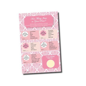 All-Ewired-Up What's In Your Purse Game - Bridal Shower - Baby Shower - Pink Damask Games (50-sheets)