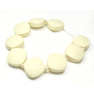 """Silli Me Jewels: """"Charmed"""" - Teething Bracelet with Square Beads for Mom to Wear and Baby to Chew (Navajo White) ..."""