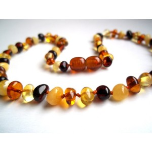 Amber Lovers Certified Natural Batlic Amber Baby Teething Necklace - Mixed Baroque - *SCREW CLASP* *SAFETY KNOT