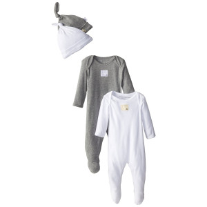 Burt's Bees Baby Boy Organic 2 Footed Coveralls and 2 Knot Caps
