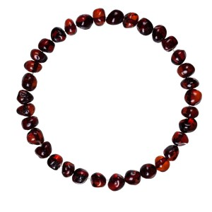 Natural Baltic Amber Adult Stretchable Bracelet/Anklet Cherry Colour Baroque By Amber Corner