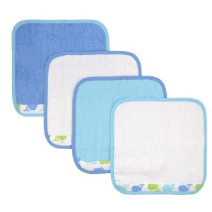 Just Born Just Bath Sea Brights 4-Pack Woven Washcloth Set, Blue Whales