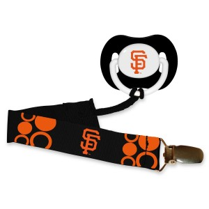 BaFanatic San Francisco Giants Black Infant Pacifier and Pacifier Clip - MLB Baby Fanatic Combo Gift Set