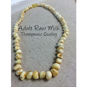 "Baltic Amber Necklace for Adults Raw Milk 18"" Arthritis Carpal Tunnel Sciatica Back Ache Head Ache Some Migraines - Maximum effective"