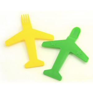 Airplane Fork and Spoon Set - by Luso Aviation (Yellow / Green)
