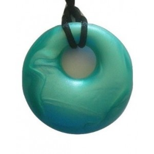 Who Baby Baby Teething Necklace for Mom Pretty Donut Shaped Pendant (Metallic Turquoise)