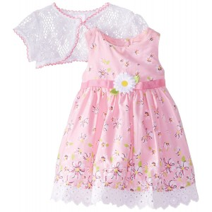 Youngland Baby Girls' Floral Print Dress with Lace Shrug