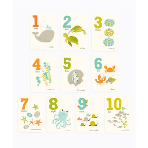 "Sea Urchin Studio 1 to 10 Counting Cards, Sea and Shore, 5"" x 7"""