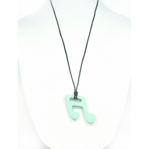 "Silli Me Jewels: ""BeBop"" Music Note Pendant - Sensory Teething Necklace for Mom to Wear and Baby to Chew (Mint Green)"