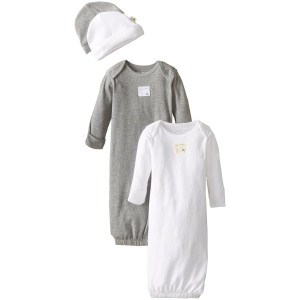 Burt's Bees Baby Boys Organic Set of 2 Lap Shoulder Gowns and 2 Knot Caps