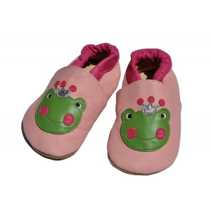 Liv & Leo featuring Tipsie Toes Tipsie Toes Baby Girl First Walker Soft Sole Genuine Leather Shoes - Frog with Crown (12-18 Month