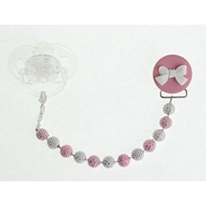 Crystal Dream Pink and White Beads and adorable Bow, pacifier Clip (CPWB)