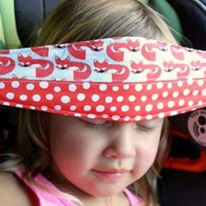 Chadamyi Organic Cotton SlumberSling - No 1. Crash Tested Toddler Car Seat Head Support - Foxy Polkadots