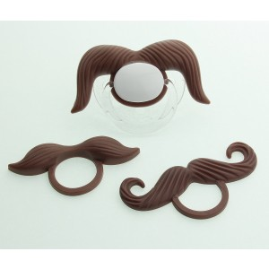 Crystal Dream 3 Interchangeable BROWN MyStash Silicone Mustaches also includes 1 Symmetric Pacifier NEWBORN (MSB