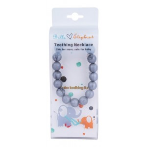 Belle Éléphant Silicone Grey Metallic Round Beaded Teething/Nursing Necklace 30 Inch