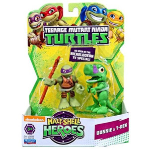 Teenage Mutant Ninja Turtles Pre-Cool Half Shell Heroes Dino Donatello and T-Rex Figures