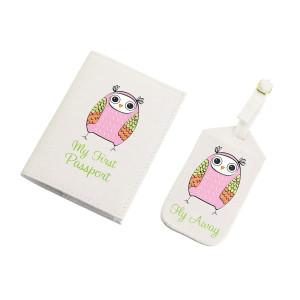 "Lillian Rose Luggage Tag and Passport, Pink/Owl, 6.75"" x 5.75"""