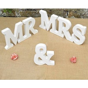 Kaishihui Mr And Mrs White Wooden Wedding Decor Letters (white)
