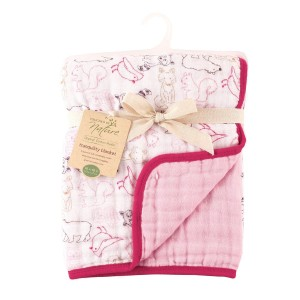 Touched by Nature Girl's Organic Four Layer Muslin Tranquility Blanket, Pink Woodland