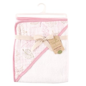 Touched by Nature Girl's Organic Hooded Towel with Muslin Hood, Pink Leaves